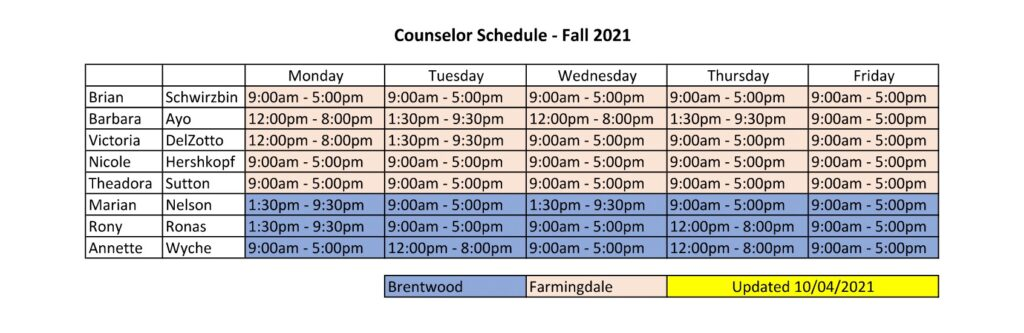Schedule for Counseling (PDF Download Below)